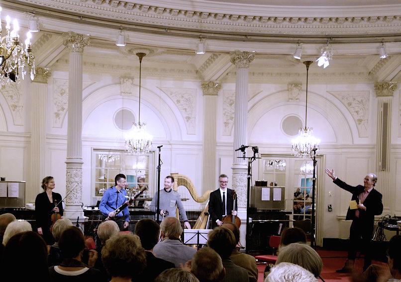 CD presentation live performance of Devienne bassoon quartet with Hans van den Boogard (NPO Radio4), Spiegelzaal, Concertgebouw Amsterdam (18 October 2015)